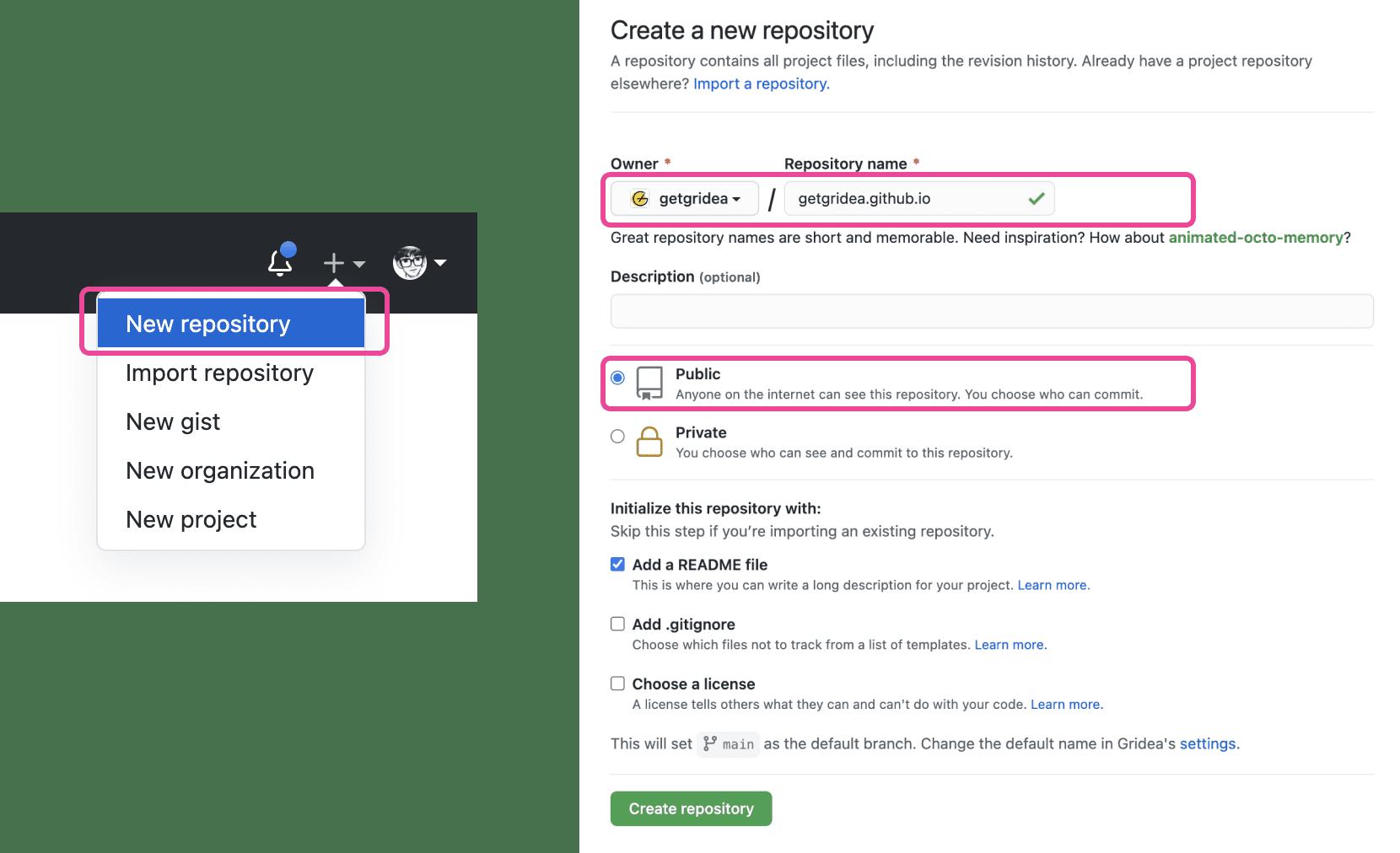 GitHub create repository